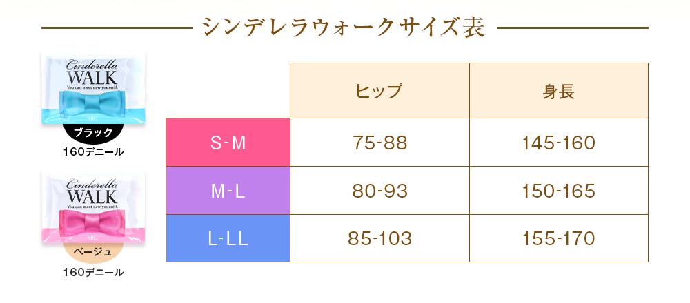 シンデレラウォーク サイズ表